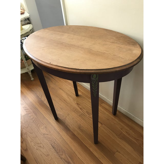 Wood 1960s Boho Chic Wooden Oval Accent Table For Sale - Image 7 of 13