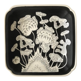 Vintage Black and White Floral Plate For Sale