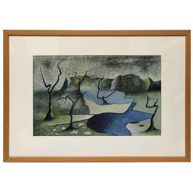 Forest Green Surrealist Landscape Signed Rothbart For Sale - Image 8 of 8