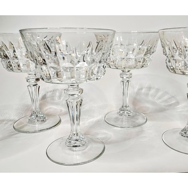 Vintage 40s Cut Crystal Champagne Coupes- Set of 7 For Sale - Image 6 of 7
