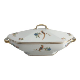 Vintage Porcelain Elegant Floral Gilt Soup Tureen For Sale