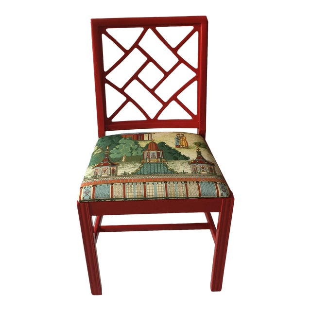 Cotton Chinoiserie Chippendale Fret Work Occasional Chair For Sale - Image 7 of 7