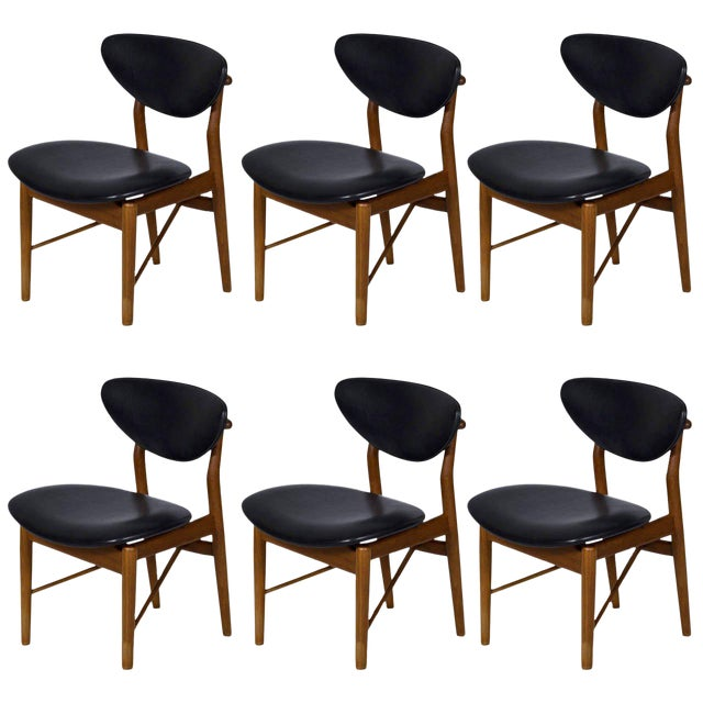 Set of Six Finn Juhl NV 55 Dining Chairs For Sale