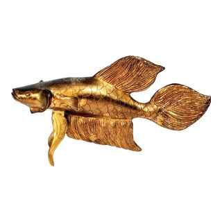 Mid-Century Modern Asian Brass Beta Goldfish
