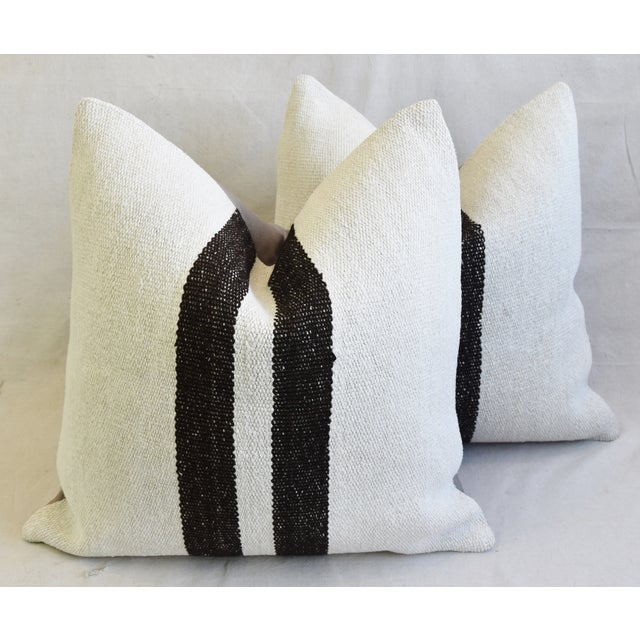 "Organic Hemp & Cotton Turkish Kilim Feather/Down Pillows 23"" Square - Pair For Sale - Image 12 of 13"
