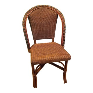 1980s Vintage Palecek Wicker & Rattan Dining Chair For Sale