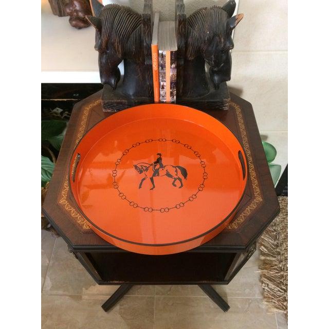 Orange Hermes-Inspired Orange Equestrian Serving Tray For Sale - Image 8 of 10