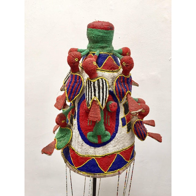 Yoruba Nigeria African Royal Beaded Headdress Crown on Stand For Sale - Image 13 of 13