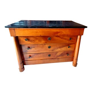 Neoclassical Style Commode With Black Marble Top For Sale