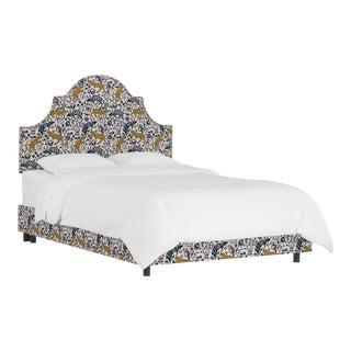 Queen Bed, Leopard Mustard Plum For Sale