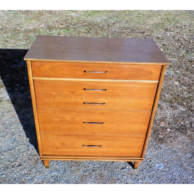 Mid-Century Modern Vintage Mid Century Modern Kent Coffey Walnut Highboy Dresser Chest the Nomad For Sale - Image 3 of 13