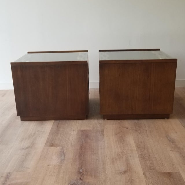 Mid-Century Modern Vintage Mid-Century Modern Walnut Side Tables With Glass Tops - a Pair For Sale - Image 3 of 13