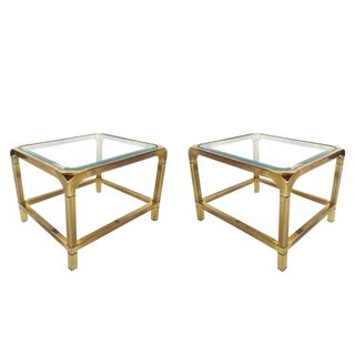 1970 Hollywood Regency Mastercraft Brass and Glass Low Profile Side Tables - a Pair For Sale