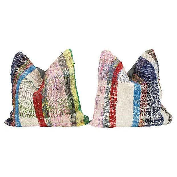 Turkish Kilim Striped Throw Pillows - a Pair - Image 2 of 4