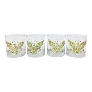 Vintage Eagle & Star Cocktail Glasses - Set of 4