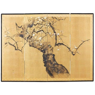 Japanese Four Panel Screen Flowering Prunus Tree For Sale