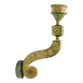 Large Yellow & Green Tin Circus Sconces (4 Available) For Sale