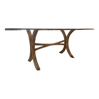 McGuire Rattan X-Frame Dining Table For Sale