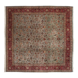 "Vintage Tabriz Square Carpet - 11'8"" X 11'10"" For Sale"