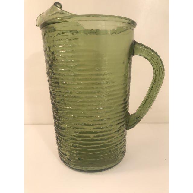 1960s 1960s Vintage Anchor Hocking Soreno Green Pitcher For Sale - Image 5 of 5