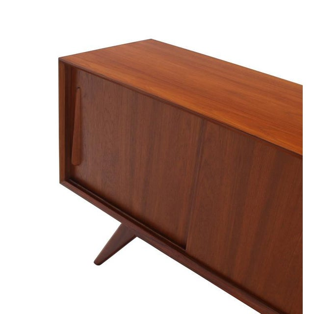Medium Size Four Drawers Splayed Legs Teak Sideboard For Sale - Image 4 of 7