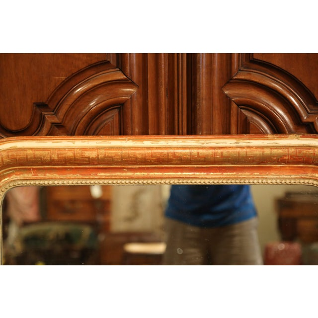 Louis Philippe Mid-19th Century French Louis Philippe Red and Gilt Wall Mirror With Greek Motif For Sale - Image 4 of 7