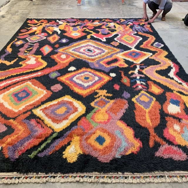 "2000 - 2009 Turkish Moroccan-Style Shag Rug 8'9""x13'3"" For Sale - Image 5 of 12"