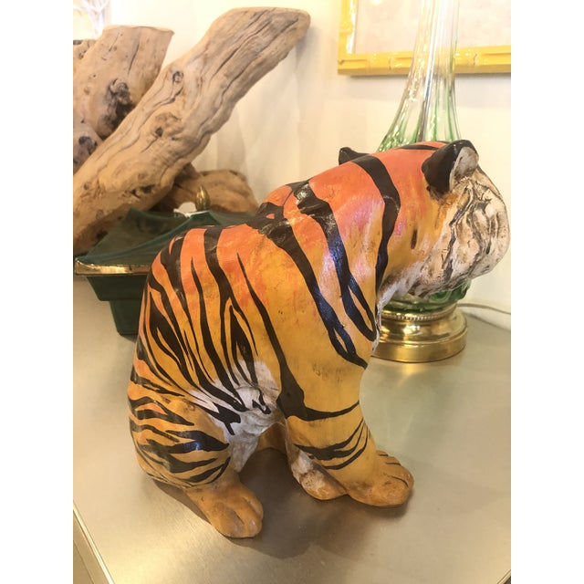 1970s Vintage Hollywood Regency Italian Terracotta Tiger Statue For Sale - Image 5 of 13