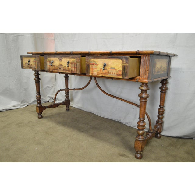 Chinese Hand Painted Large Faux Bamboo Hall Table or Sideboard For Sale - Image 9 of 11