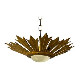 Gilt Metal Sunburst Ceiling Fixture With Convex Opaline Globe For Sale