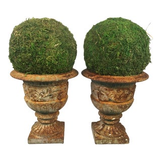 Small Iron Planters, a Pair For Sale