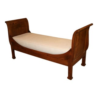 1870s French Empire Wooden Sleigh Daybed For Sale