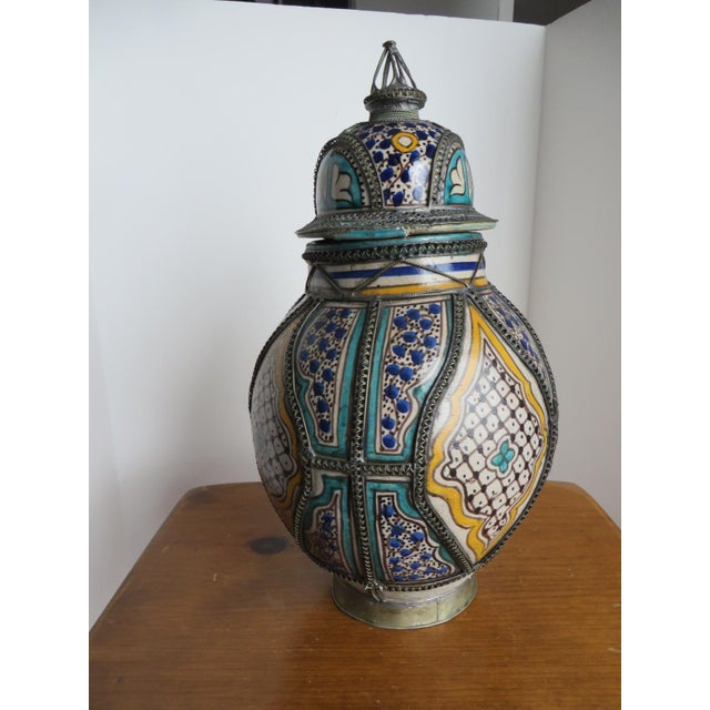 Antique Moroccan Jar with Filigree - Image 2 of 11