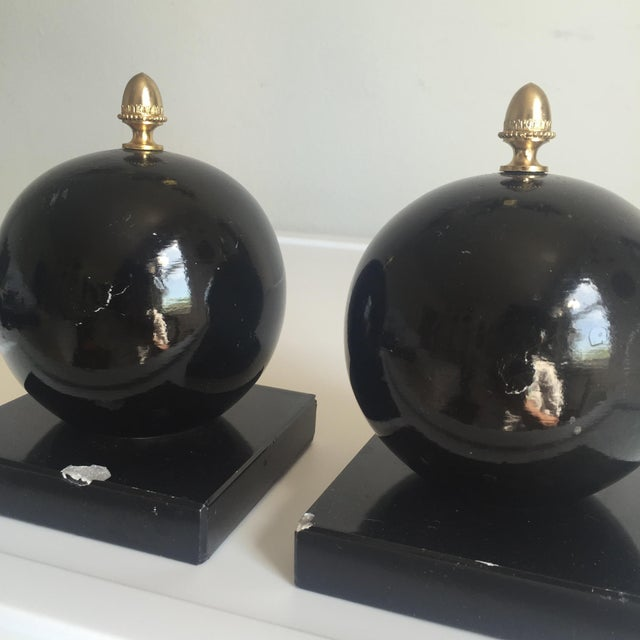 1970s Vintage Alabaster Sphere Bookends - a Pair For Sale - Image 5 of 7