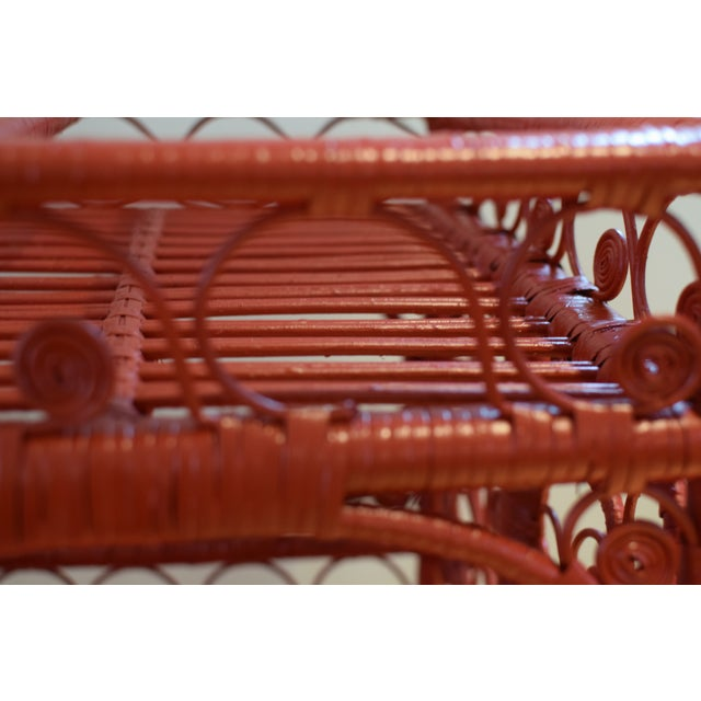1970s 1970s Boho Chic Red Rattan Bohemian Cart For Sale - Image 5 of 12