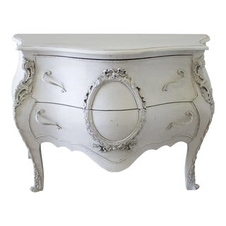 20th Century Carved & Painted Louis XV Style Bombe Commode For Sale