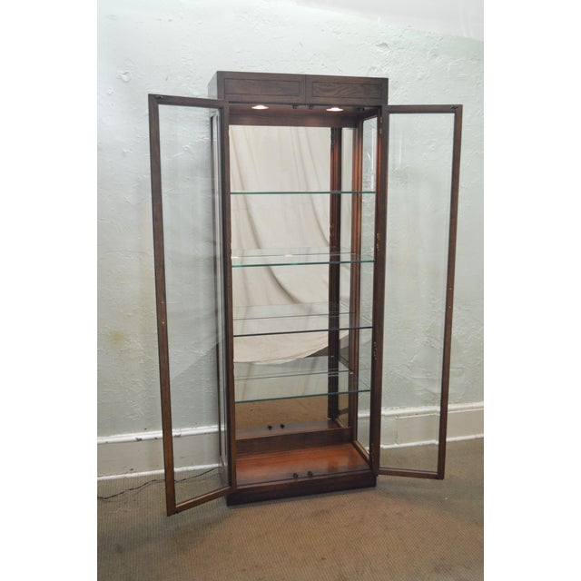 Henredon Campaign Style Lighted Curio Display Cabinet - Image 10 of 11