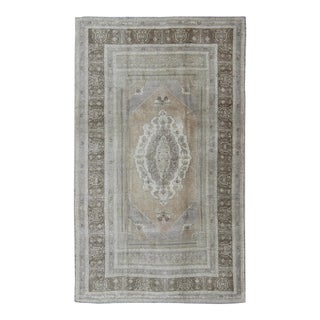 Warm Colored Layered Medallion Vintage Turkish Oushak Rug in Taupe, Gray, Brown For Sale