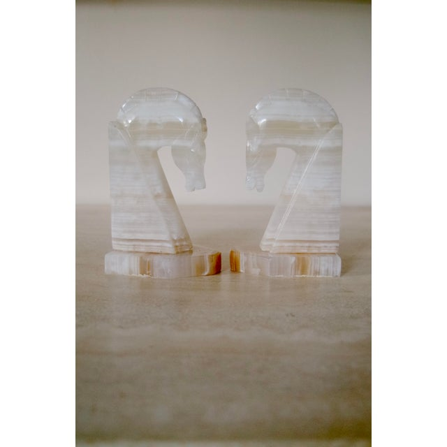 Vintage Alabaster Horse Bookends - a Pair For Sale In Washington DC - Image 6 of 6