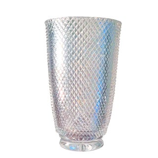 1990s Baccarat Style Micro Stacked Diamond Cut Lead Crystal Flower Vase For Sale