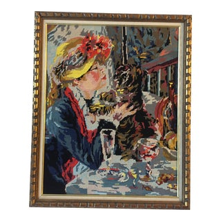 Woman With Dog Vintage Renoir Needlepoint For Sale