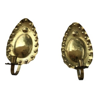 Hand Crafted Brass Wall Sconces - a Pair