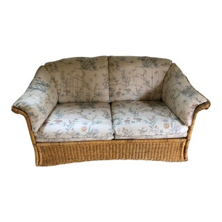 1990s Contemporary Sherrill Furniture Upholstered Rattan Loveseat - Removable Cushions