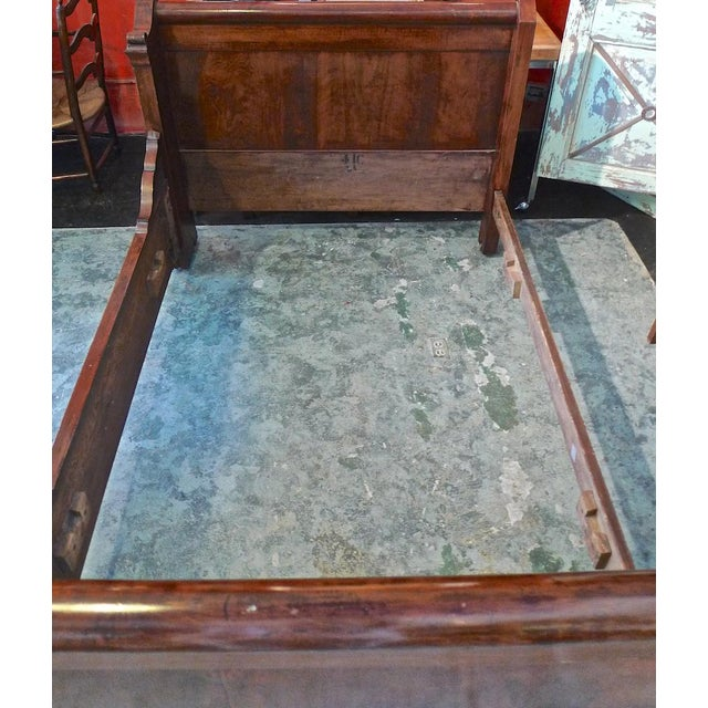 19th Century Country Louis Philippe Burled Walnut Bedframe For Sale - Image 4 of 10