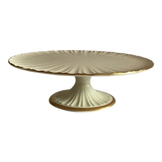 Lenox Plaza Collection 24k Gold Trimmed Porcelain Footed Cake Stand For Sale
