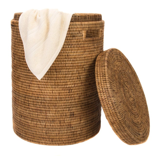 Boho Chic Artifacts Rattan Round Hamper with Cotton Liner For Sale - Image 3 of 4