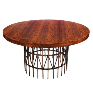 CENTER TABLE IN ROSEWOOD AND BRONZE BY MILO BAUGHMAN For Sale