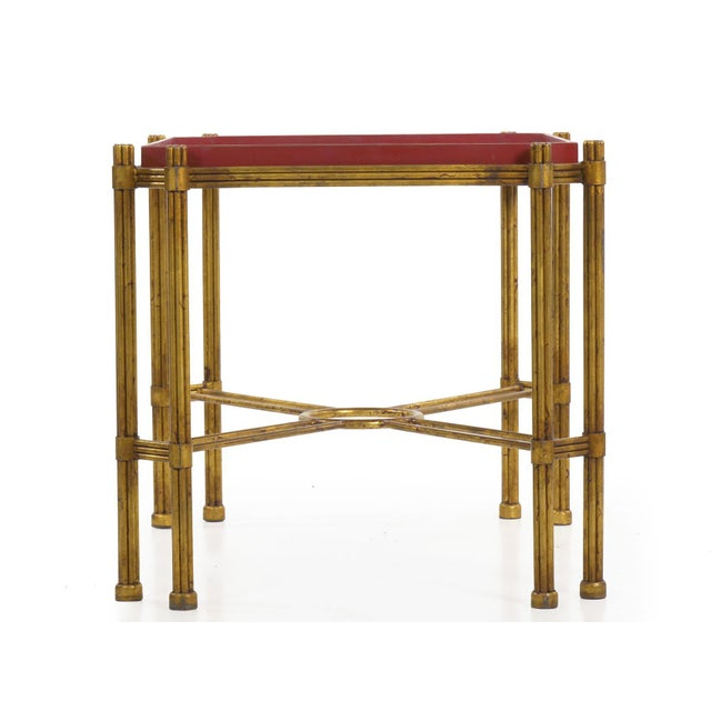 Late 20th Century Vintage Gilt Iron Cocktail Table With Red-Painted Wooden Tray, 20th Century For Sale - Image 5 of 13
