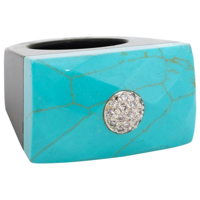 Metal East West Turquoise Onyx Diamond Cocktail Ring For Sale - Image 7 of 7