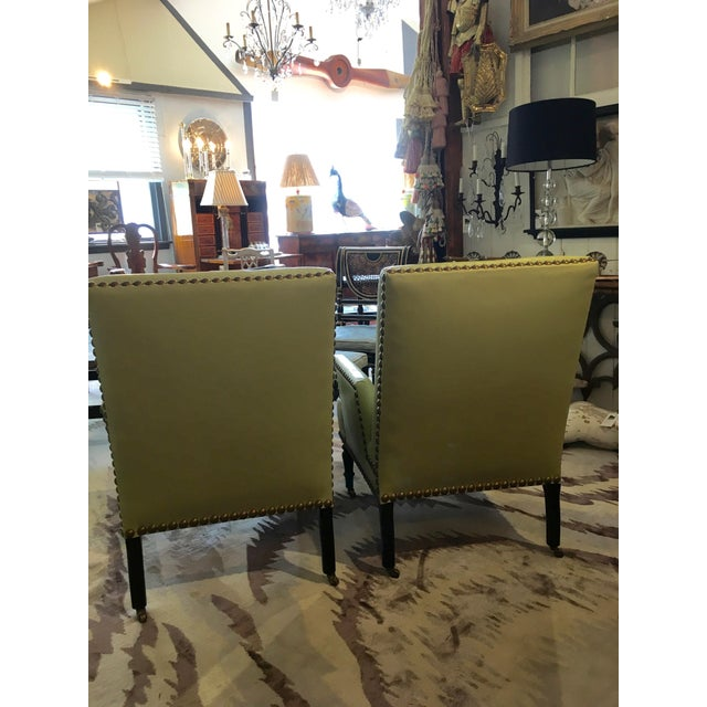 Mid-Century Modern Vintage Lime Green Leather George Smith Club Chairs- A Pair For Sale - Image 3 of 11